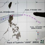 A monitor shows the track of Typhoon Megi at the Philippine Atmospheric, Geophysical and Astronomical Services Administration in Manila