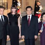Nicolas Sarkozy, Carla Bruni Sarkozy, Hu Jintao, Liu Yongqing
