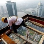 chinese skyscraper worker