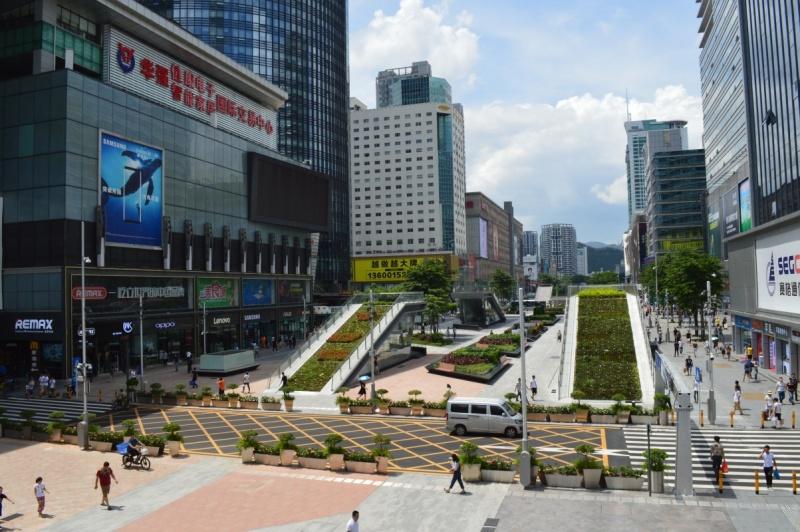Główny deptak w dzielnicy HuaQiangBei w Shenzhen