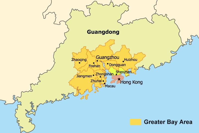 Greater Bay Area: Hong Kong + Macau + 9 miast prowincji Guangdong