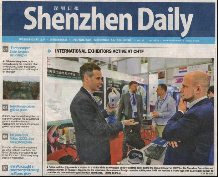 O naszym udziale w targach China HiTech Fair 2018 na pierwszej stronie największego anglojęzycznego dziennika w Shenzhen